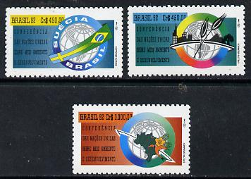 Brazil 1992 UN Conference on Environment #3 set of 3 unmounted mint, SG 2536-38*