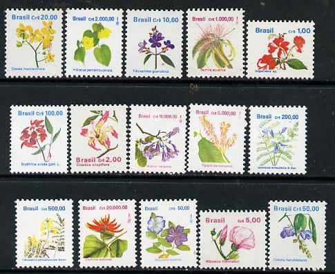 Brazil 1990 Flowers complete definitive set of 15 values, SG 2413-24e unmounted mint*