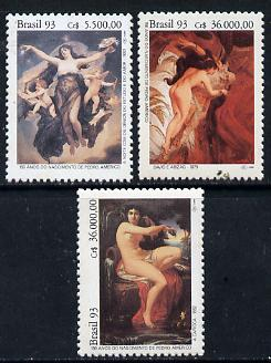 Brazil 1993 Birth Anniversary of Pedro Americo (Painter) set of 3 unmounted mint, SG 2572-74*