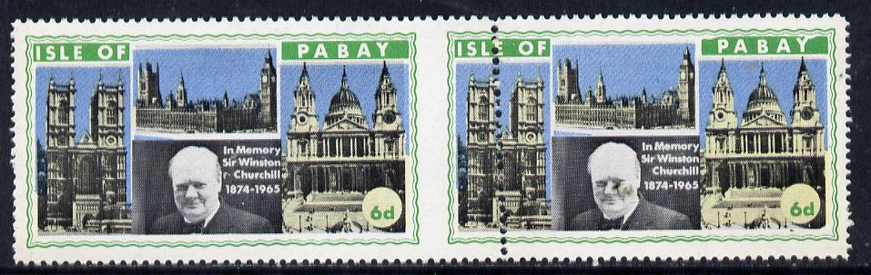 Pabay 1968 Churchill 6d horiz pair with dividing perfs misplaced by 9mm (slight set-off on gummed side)