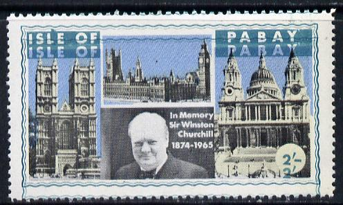 Pabay 1968 Churchill 2s with green (frame, name & value) doubled (slight set-off on gummed side)