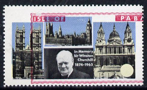 Pabay 1968 Churchill 5s with red (frame, name & value) misplaced (slight set-off on gummed side)