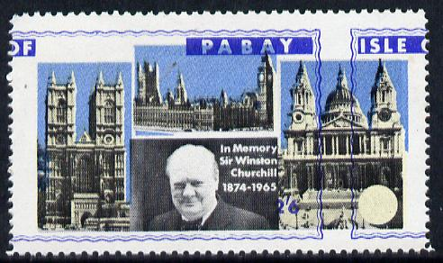 Pabay 1968 Churchill 2s6d with blue (frame, name & value) misplaced (slight set-off on gummed side)