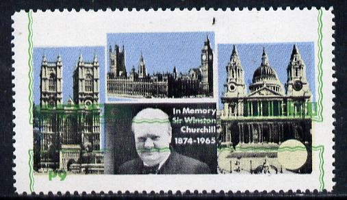 Pabay 1968 Churchill 6d with green (frame, name & value) inverted (unmounted mint but slight set-off on gummed side)