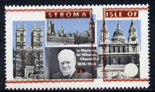 Stroma 1968 Churchill 2s6d with brown (frame, name & value) misplaced (slight set-off on gummed side)