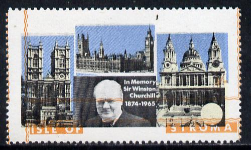 Stroma 1968 Churchill 5s with orange (frame, name & value) misplaced (slight set-off on gummed side)