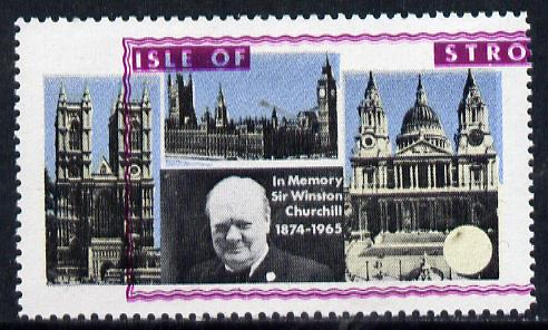 Stroma 1968 Churchill 2s with purple (frame, name & value) misplaced (slight set-off on gummed side)