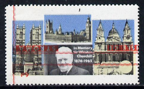 Stroma 1968 Churchill 6d with red (frame, name & value) inverted (slight set-off on gummed side)