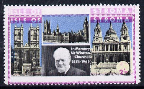 Stroma 1968 Churchill 2s with purple (frame, name & value) doubled (slight set-off on gummed side)