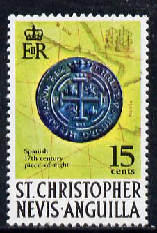 St Kitts-Nevis 1970-74 'Piece of Eight' 15c with corrected spelling of Hispaniarum  from def set unmounted mint, SG 214a
