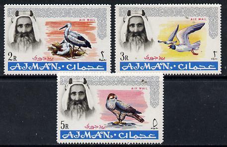 Ajman 1965 Birds perf set of 3 from