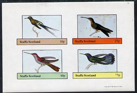 Staffa 1981 Humming Birds #03 imperf  set of 4 values (10p to 75p) unmounted mint