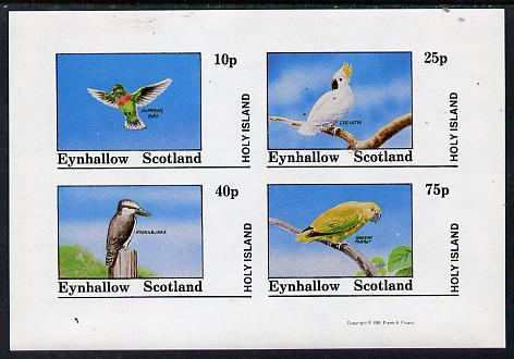 Eynhallow 1981 Birds #03 (Humming Bird, Cockatoo, Kookaburra & Parrot) imperf  set of 4 values (10p to 75p) unmounted mint