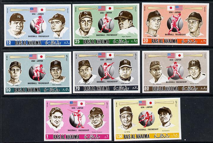 Ras Al Khaima 1972 Baseball imperf set of 8 unmounted mint, Mi 715-23B