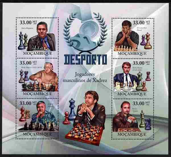 Mozambique 2010 Chess Players perf sheetlet containing 6 values unmounted mint