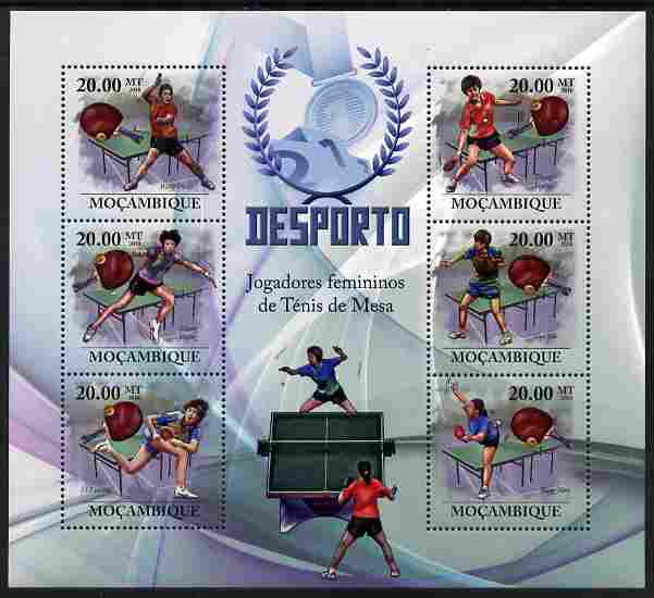 Mozambique 2010 Table Tennis Players (female) perf sheetlet containing 6 values unmounted mint