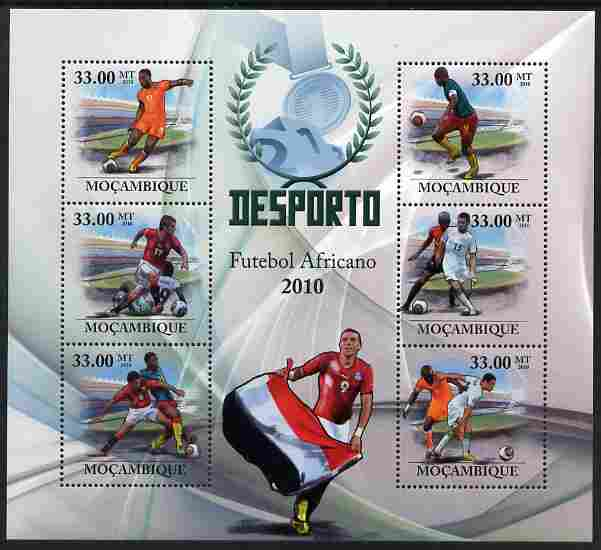 Mozambique 2010 African Football Players perf sheetlet containing 6 values unmounted mint
