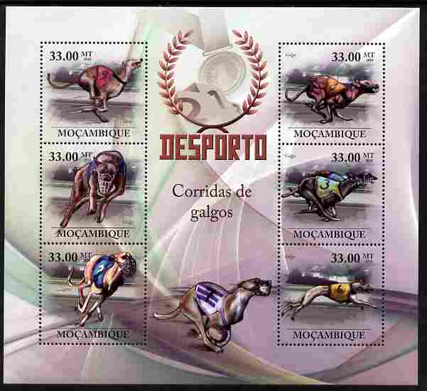 Mozambique 2010 Greyhound Racing perf sheetlet containing 6 values unmounted mint
