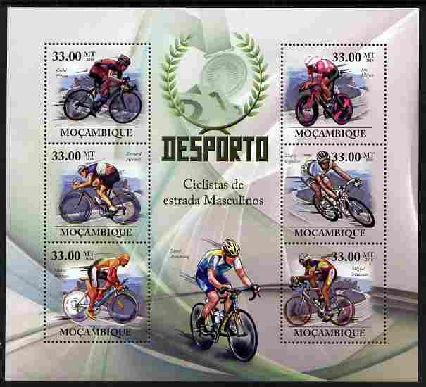 Mozambique 2010 Road Cycle Racing perf sheetlet containing 6 values unmounted mint