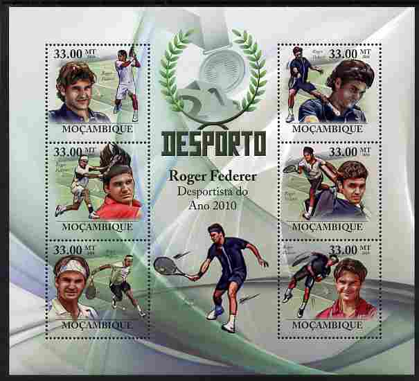 Mozambique 2010 Roger Federer (tennis) perf sheetlet containing 6 values unmounted mint, stamps on personalities, stamps on tennis