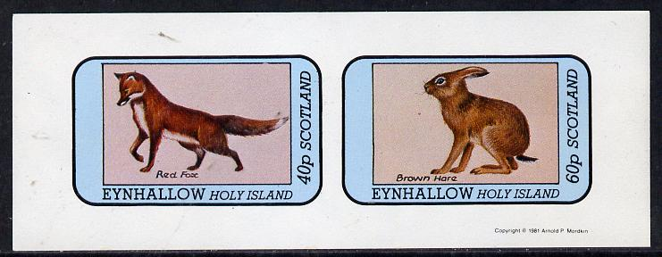 Eynhallow 1981 Animals #03 (Red Fox & Brown Hare) imperf set of 2 values (40p & 60p) unmounted mint