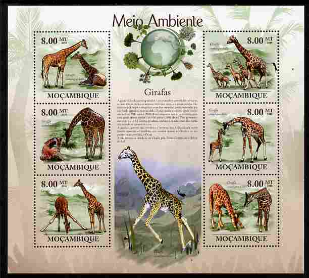 Mozambique 2010 The Environment - Giraffes perf sheetlet containing 6 values unmounted mint Michel 3530-35