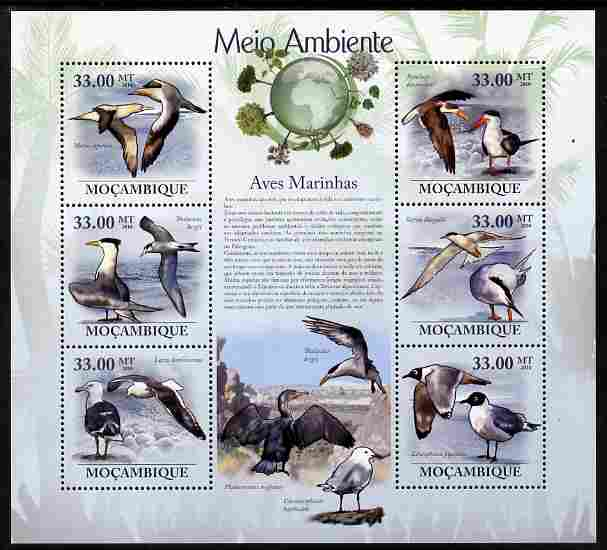 Mozambique 2010 The Environment - Sea Birds perf sheetlet containing 6 values unmounted mint Michel 3495-3500