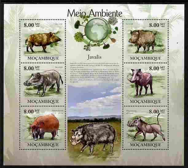 Mozambique 2010 The Environment - Boars perf sheetlet containing 6 values unmounted mint Michel 3536-41