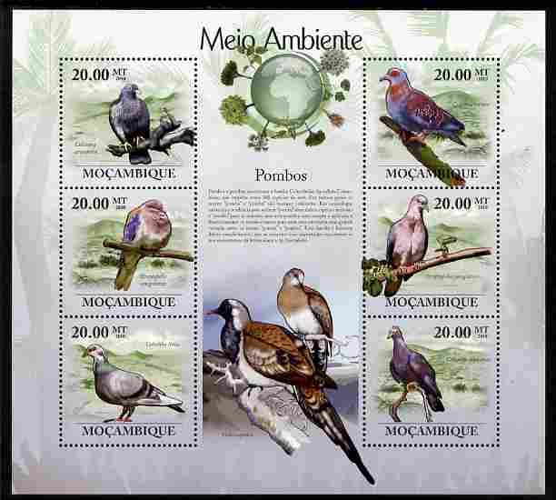 Mozambique 2010 The Environment - Pigeons perf sheetlet containing 6 values unmounted mint Michel 3483-88