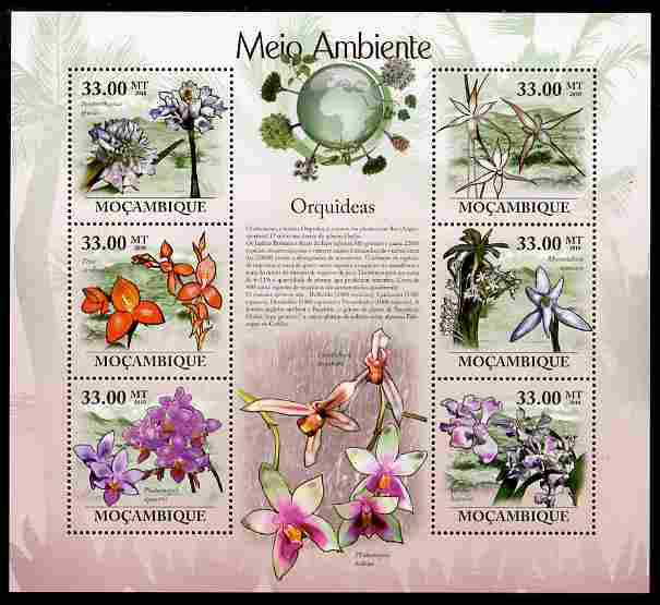 Mozambique 2010 The Environment - Orchids perf sheetlet containing 6 values unmounted mint Michel 3475-80