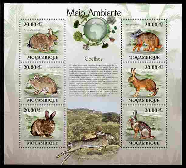 Mozambique 2010 The Environment - Rabbits perf sheetlet containing 6 values unmounted mint Michel 3548-53