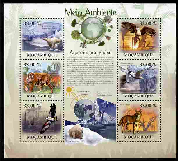 Mozambique 2010 The Environment - Global Warming perf sheetlet containing 6 values unmounted mint Michel 3644-49