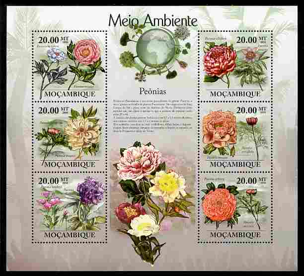 Mozambique 2010 The Environment - Peony Flower perf sheetlet containing 6 values unmounted mint Michel 3469-74