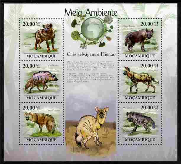 Mozambique 2010 The Environment - Wild Dogs & Hyenas perf sheetlet containing 6 values unmounted mint Michel 3572-77