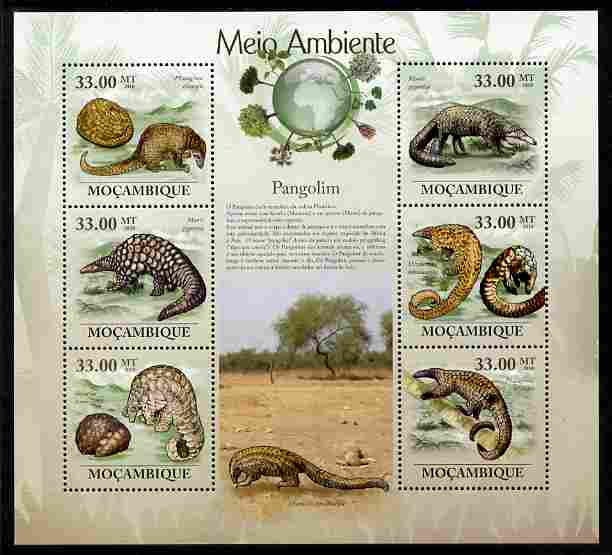 Mozambique 2010 The Environment - Pangolins perf sheetlet containing 6 values unmounted mint Michel 3590-95