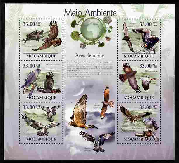 Mozambique 2010 The Environment - Raptors perf sheetlet containing 6 values unmounted mint Michel 3501-06