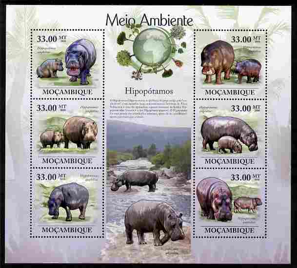 Mozambique 2010 The Environment - Hippos perf sheetlet containing 6 values unmounted mint Michel 3596-3601