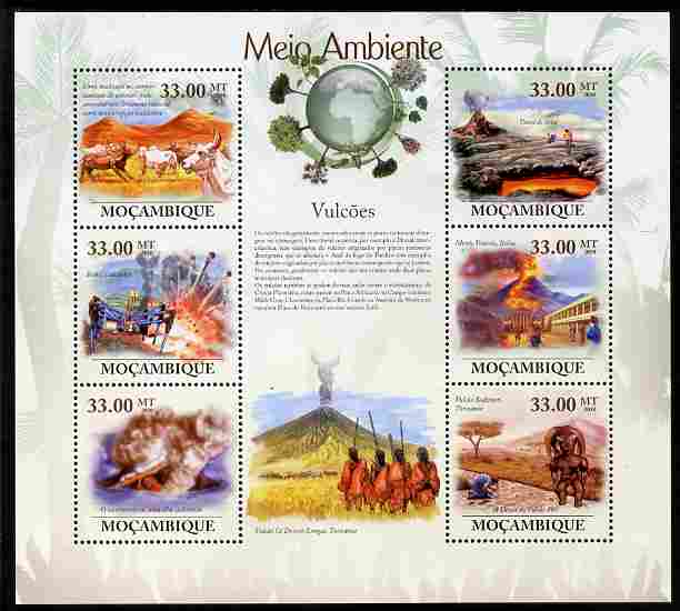 Mozambique 2010 The Environment - Volcanoes perf sheetlet containing 6 values unmounted mint Michel 3651-56