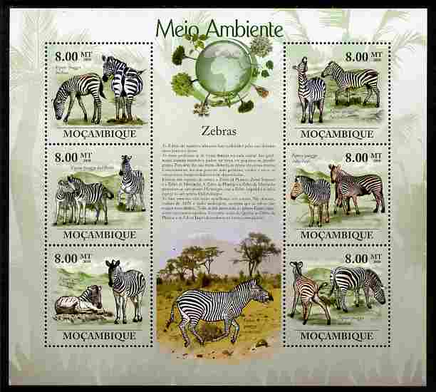 Mozambique 2010 The Environment - Zebras perf sheetlet containing 6 values unmounted mint Michel 3624-29