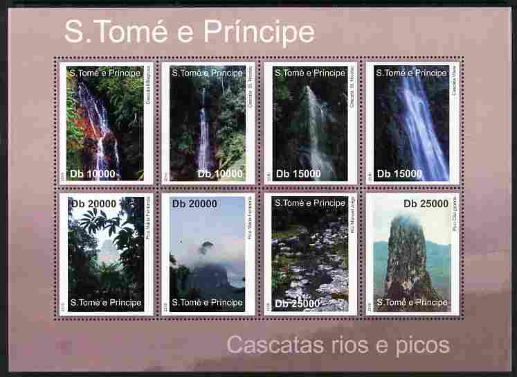 St Thomas & Prince Islands 2010 Rivers & Waterfalls perf sheetlet containing 8 values unmounted mint