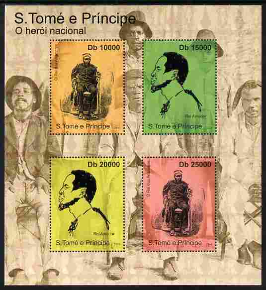 St Thomas & Prince Islands 2010 National Heroes perf sheetlet containing 4 values unmounted mint
