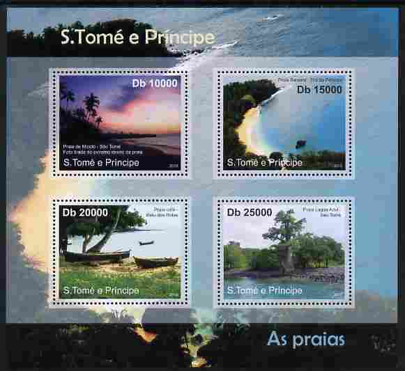 St Thomas & Prince Islands 2010 Beaches ofSt Thomas perf sheetlet containing 4 values unmounted mint