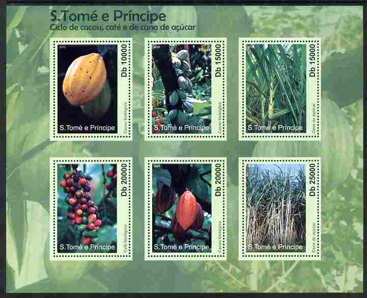 St Thomas & Prince Islands 2010 Coffee, Cocoa & Sugar Cane perf sheetlet containing 6 values unmounted mint
