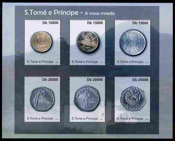 St Thomas & Prince Islands 2010 Currency ofSt Thomas - Coins #1 perf sheetlet containing 4 values unmounted mint