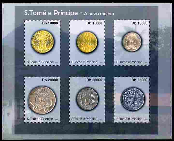 St Thomas & Prince Islands 2010 Currency ofSt Thomas - Coins #2 perf sheetlet containing 4 values unmounted mint