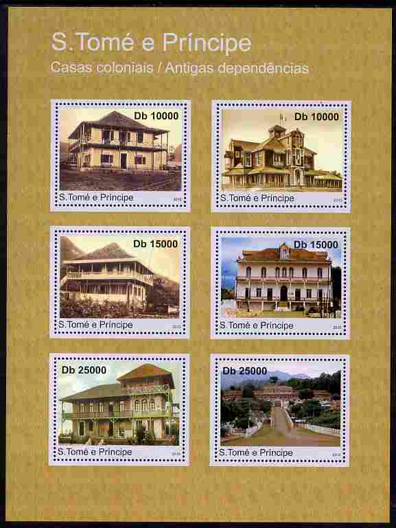 St Thomas & Prince Islands 2010 Homes of Settlers perf sheetlet containing 6 values unmounted mint