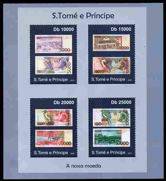 St Thomas & Prince Islands 2010 Currency ofSt Thomas - Banknotes perf sheetlet containing 4 values unmounted mint