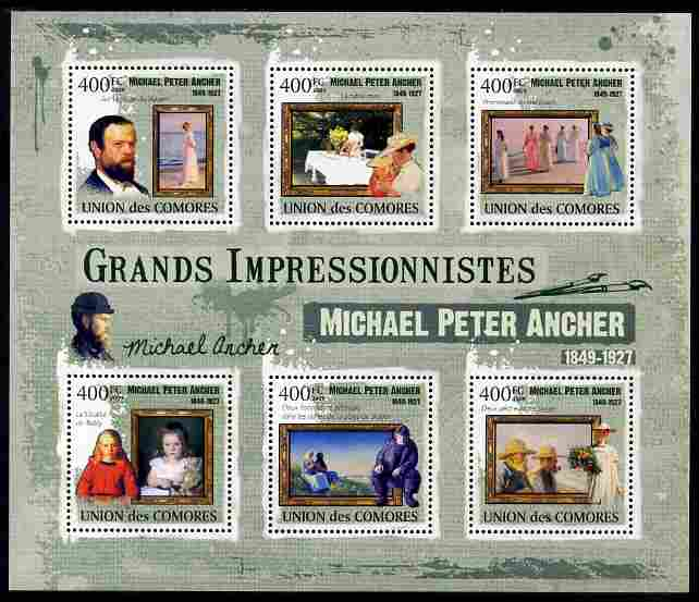 Comoro Islands 2009 Impressionists - Michael Peter Ancher perf sheetlet containing 6 values unmounted mint Michel 2477-82