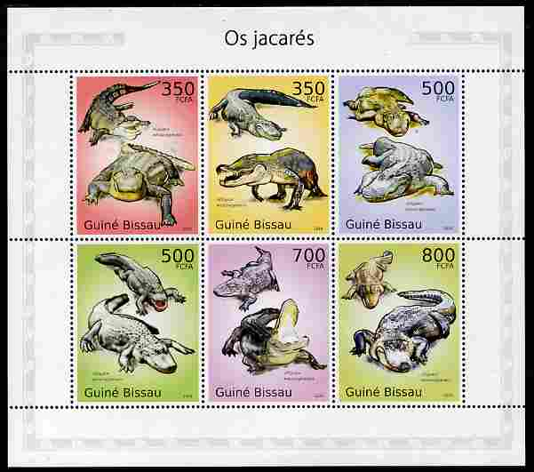 Guinea - Bissau 2010 Alligators perf sheetlet containing 6 values unmounted mint