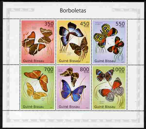 Guinea - Bissau 2010 Butterflies perf sheetlet containing 6 values unmounted mint